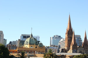 Flinders Street station and St Paul's Cathedral from Princes Street Bridge
