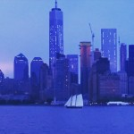 New York in twilight on the ferry ride home.