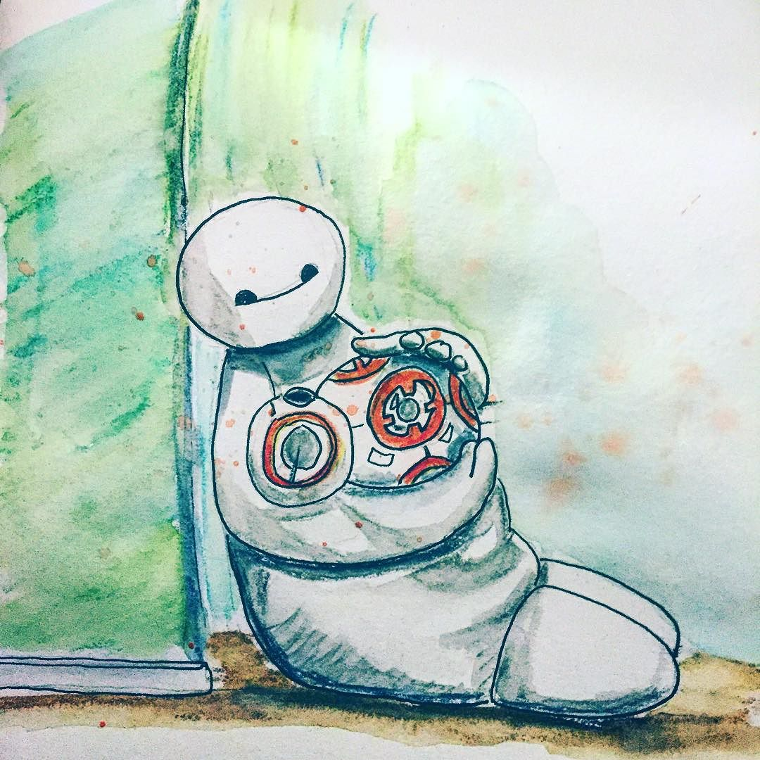Droidy_baby__stilltoohot__starwars__bb8__baymax__watercolorpencils (1)