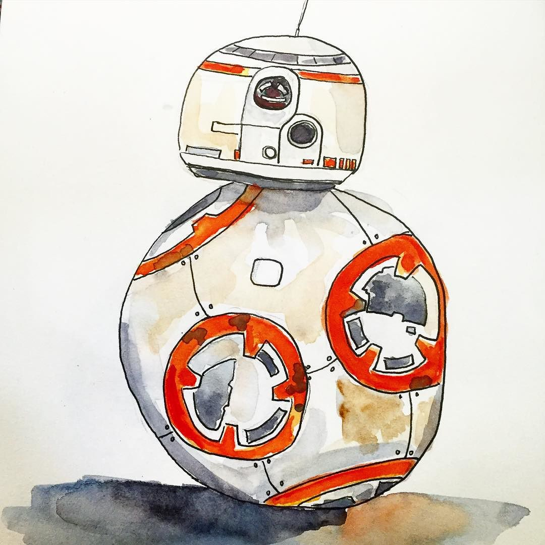 One_more__bb8__starwars__theforceawakens__watercolor__watercolour (1)