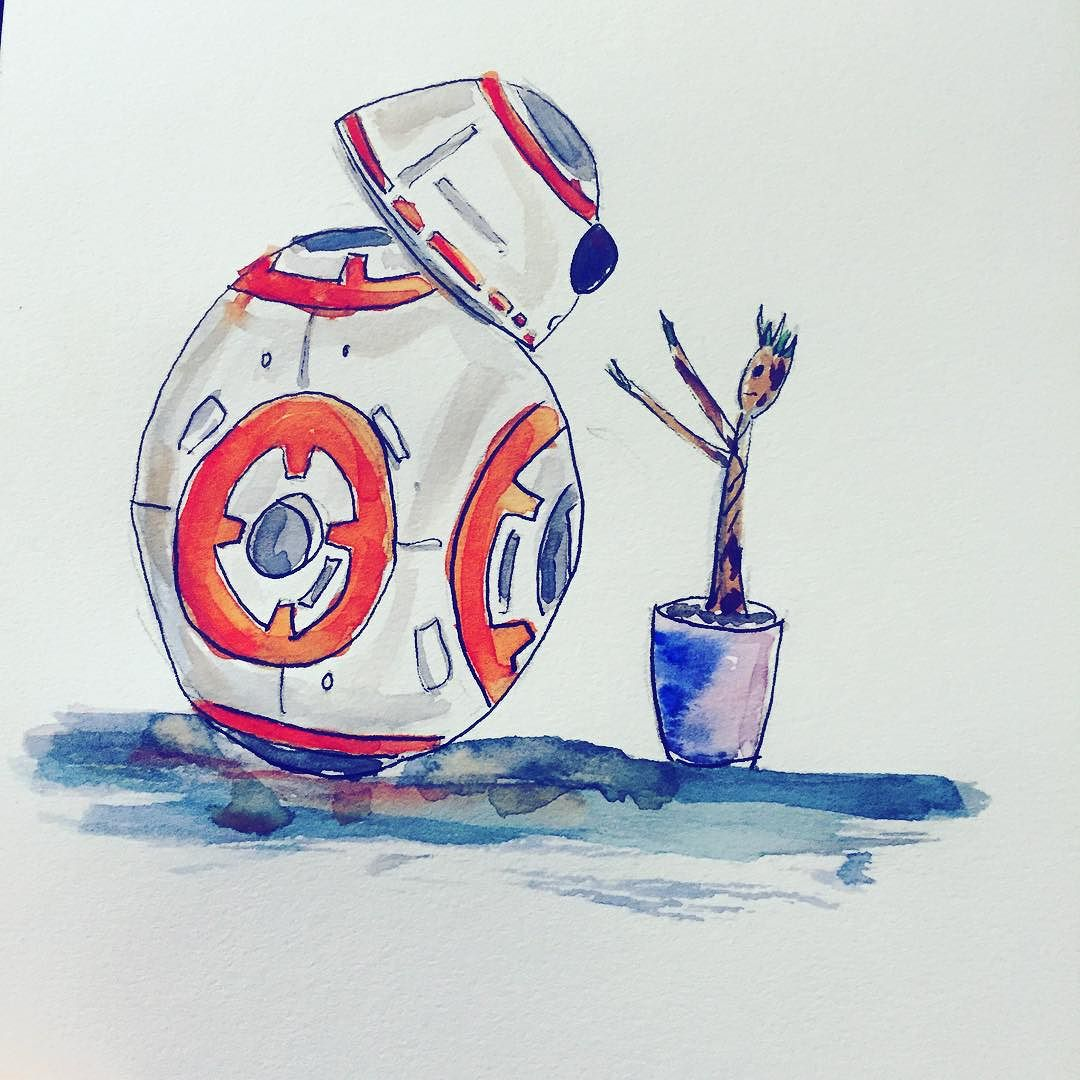 Too_hot_to_sleep_art__bb8__babygroot__starwars__watercolor